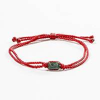 Jade unity bracelet, 'Teamwork Together' - Green Jade & Red Cord Unity Bracelet from Guatemala