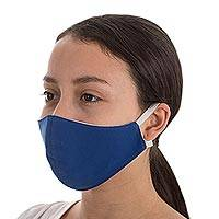 Contoured face masks, 'Solidarity in Blue' (pair) - Adult Contoured Face Masks in Blue (Pair)