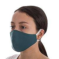 Contoured face masks, 'Solidarity in Teal' (pair) - Contoured Teal Face Masks (Pair)