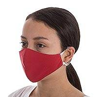 Contoured face masks, 'Solidarity in Red' (pair) - Solid Red Reusable Contoured Face Masks (Pair)