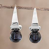 Jade drop earrings, 'Modern Mystic in Black' - Black Jade Drop Earrings from Guatemala