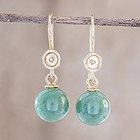 Gold and jade dangle earrings, 'Jocotes' - Solid 14k Yellow Gold and Jade Earrings