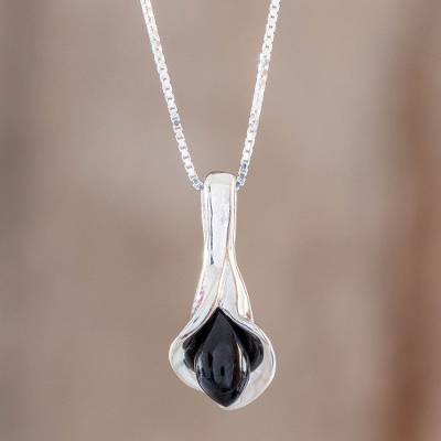 Jade pendant necklace, 'Mixco Lily in Black' - Black Jade Calla Lily Pendant Necklace