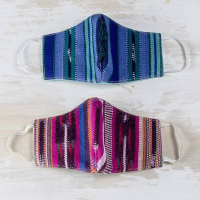 Handwoven cotton face masks, 'Highland Contrasts' (S/M, pair) - Small-Medium Blue & Pink Hand Woven Cotton Face Masks (Pair)