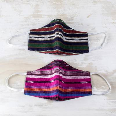 Handwoven cotton face masks, 'Artistic Stripes' (L/XL, pair) - L/XL Reusable Hand Loomed Cotton Masks (Pair)