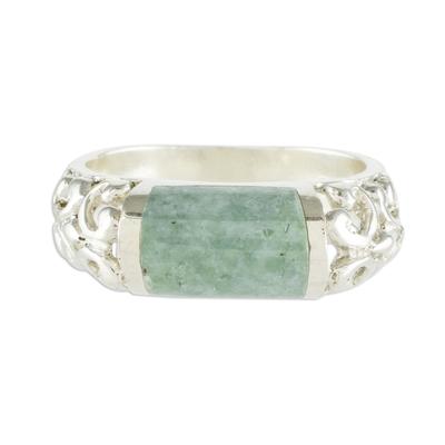 Jade band ring, 'Sweet Maya in Light Green' - Light Green Jade and Sterling Silver Band Ring