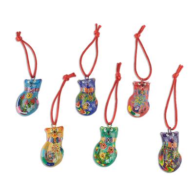 Festive Hand Painted Ceramic Cat Ornaments (Set of 6)
