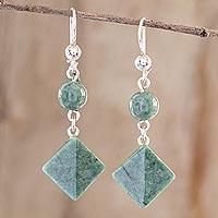 Jade dangle earrings, 'Ancient Diamonds in Green' - Light Green Jade Geometric Dangle Earrings