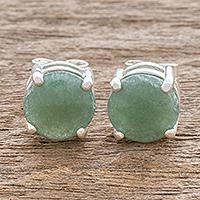 Jade stud earrings, 'Maya Sweets in Green' - Green Guatemalan Jade Stud Earrings