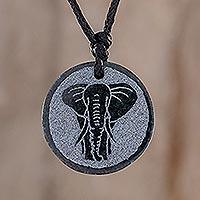 Jade pendant necklace, 'Elephant Wisdom' - Elephant Motif Jade Pendant Necklace