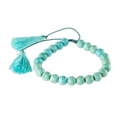 Beaded Reconstituted Turquoise Bracelet