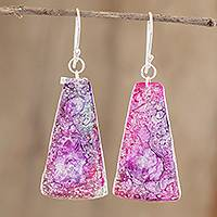 Recycled CD dangle earrings, 'Orchid Polygons' - Recycled CD Dangle Earrings in Pink and Purple