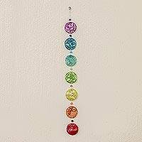 Recycled CDs home accent, 'Eco Chakra' - Chakra Themed Recycled CD Hanging Ornament