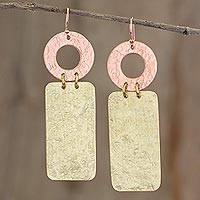 Copper and brass dangle earrings, 'Peten Texture' - Textured Brass and Copper Earrings