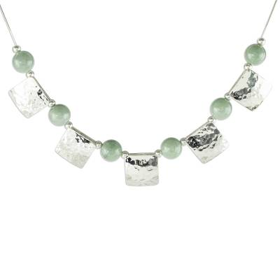 Jade pendant necklace, 'Panajachel Sun' - Hammered Sterling Silver and Jade Necklace