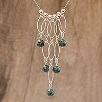 Jade pendant necklace, 'Dark Maya Empress' - Jade and Sterling Silver Statement Necklace