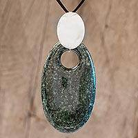 Jade pendant necklace, 'Maya Mirror' - Dark Green Jade and Silver Pendant Necklace
