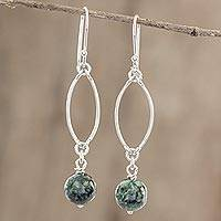 Jade dangle earrings, 'Dark Maya Empress' - Hand Crafted Jade and Sterling Silver Dangle Earrings