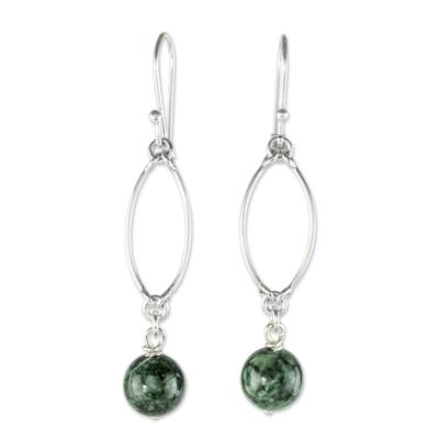 Jade dangle earrings, 'Dark Maya Empress' - Hand Crafted Jade and Sterling Silver Dangle Earrings