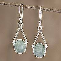 Jade dangle earrings, 'Maya Trapeze in Light Green' - Light Green Guatemalan Jade Earrings