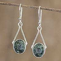 Jade dangle earrings, 'Maya Trapeze in Dark Green' - Artisan Crafted Silver and Jade Dangle Earrings