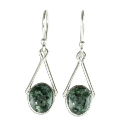 Jade dangle earrings, 'Maya Trapeze in Dark Green' - Artisan Crafted Silver and Jade Dangle Earrings