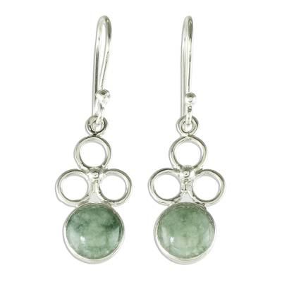 Jade dangle earrings, 'Trinity of Hope' - Apple Green Jade Dangle Earrings from Guatemala