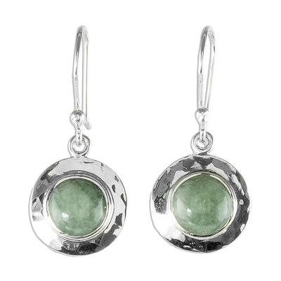 Jade dangle earrings, 'Maya Planets' - Handmade Light Green Jade and Sterling Silver Earrings