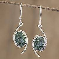 Jade dangle earrings, 'Way of Life' - Dark Green Jade Dangle Earrings