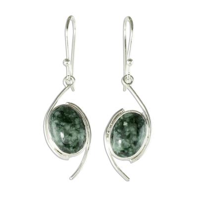 Jade dangle earrings, 'Way of Life' - Dark Green Jade Dangle Earrings