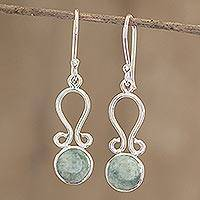 Jade dangle earrings, 'Samala River' - Polished Silver and Light Green Jade Earrings