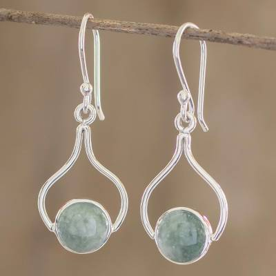 Jade dangle earrings, 'Mixco Renaissance' - Hand Crafted Jade and Sterling Silver Earrings