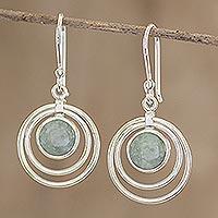 Jade dangle earrings, 'Mixco Orbits' - Sterling Silver and Jade Earrings