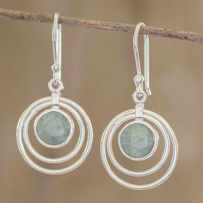 Jade dangle earrings, 'Mixco Orbits' - Sterling Silver and Jade Earrings
