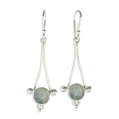 Jade dangle earrings, 'Mixco Harmony in Light Green' - Light Green Jade Earrings from Guatemala