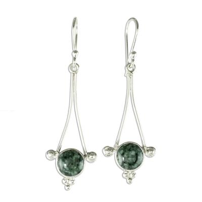 Jade dangle earrings, 'Mixco Harmony in Dark Green - Handmade Guatemalan Jade Dangle Earrings