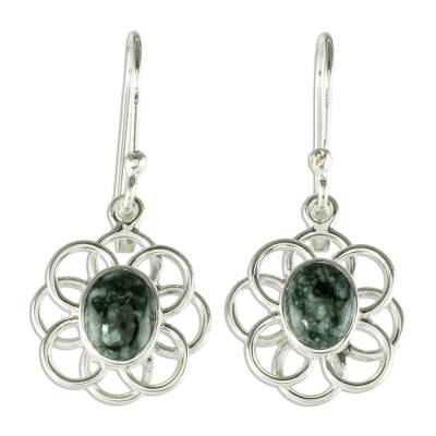 Jade dangle earrings, 'Mixco Flora in Dark Green' - Natural Jade Dangle Earrings from Guatemala