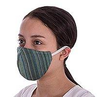 Cotton face masks, 'Green Mayan Dreams' (pair) - 2 Handwoven Green Cotton Face Masks w/ Head Straps