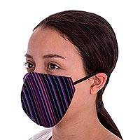 Cotton face masks, 'Mayan Jacaranda' (pair) - 2 Handwoven Black & Fuchsia Cotton Face Masks w/ Head Straps