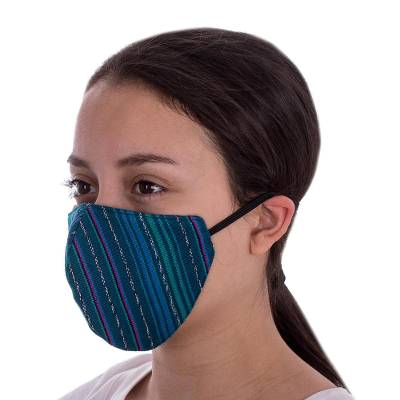 Cotton face masks, 'Azure Mayan Dreams' (pair) - 2 Handwoven Azure Blue Tones Cotton Masks w/ Head Straps