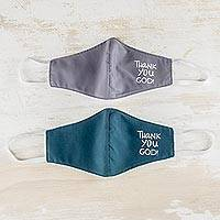 Contoured face masks, 'Thanks in Teal and Grey' (pair) - Teal and Grey Thank You God Face Masks (Pair)