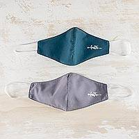 Contoured face masks, 'Faith in Teal and Grey' (pair) - Handmade Contoured Adult Face Masks (Pair)