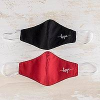 Contoured face masks, 'Hope in Red and Black' (pair) - Reusable and Washable Face Masks (Pair)