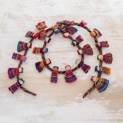 Cotton garland, 'Joy and Diversity' - Artisan Crafted Guatemalan Worry Doll Garland