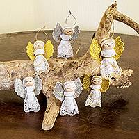 Hand crafted ornaments, 'Lacy Angels' (set of 6)