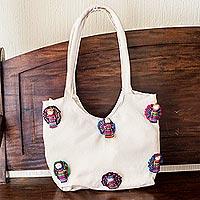 Cotton shoulder bag, 'Union'