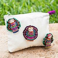 Cotton cosmetics bag, 'Travel Companions'