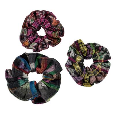 Cotton scrunchies, 'Tradition' (set of 3) - Artisan Crafted Cotton Scrunchies (Set of 3)