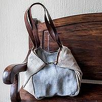 Cotton and leather shoulder bag, 'Celeste'