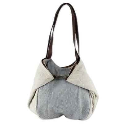 Cotton and leather shoulder bag, 'Celeste' - Undyed Recycled Denim and Cotton Shoulder Bag from Guatemala